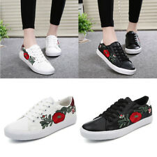 Women Embellished Flower Casual Lace Up Sneakers Trainers Sports Running Shoes