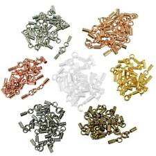 12pcs Round Spring Clasp Leather Cord End Tube Crimp Jewelry DIY Making Findings