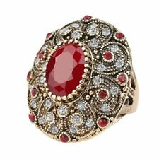 Fashion Vintage Jewelry Rings Unique Plated Ancient Gold Mosaic AAA Crystal Big