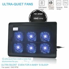 """2 USB adajustable Cooling Cooler Pad with 6 Fans LED for 10""""-16"""" Laptop PC Lot E"""