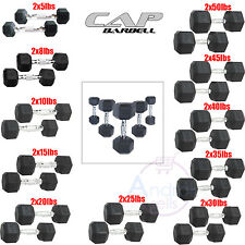 Rubber Coated Hex Dumbbells CAP Barbell PAIR Gym Lift Fitness 5-50 LB Weight NEW