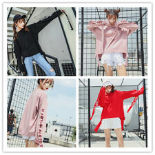 Women's Letter Splice Long Sleeve Crewneck Relaxed Hiphop Pullover Jumper Sweats