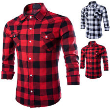 Mens Stylish Slim Long Fit Sleeve Plaid Shirt Two Pockets Dress Casual Shirts #