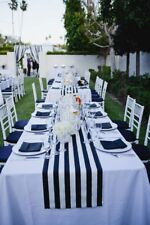 Navy Blue and White striped table runner, navy and white striped wedding runner