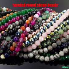 natural gemstone spacer beads 4mm 6mm 8mm 10mm faceted round stone strand 15.5""