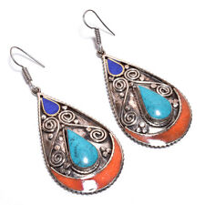 Turquoise Coral Lapis Gemstone Earrings, Tibetan Silver Boho Women Jewelry TE4