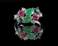 925 Sterling Silver Ring with Ruby, Blue Sapphire & Emerald Gemstones Handmade