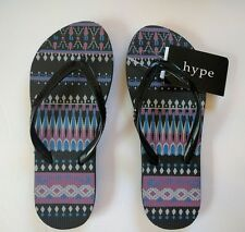 Womens flip flop Hype Size 5 6 7 8 New Black Geo Sequins Printed Sandals