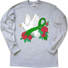 Inktastic Liver Cancer Awareness With Dove Roses And Green Long Sleeve T-Shirt