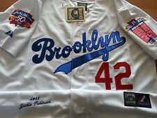 WHITE Jackie Robinson Brooklyn Dodgers #42 Cooperstown Dual Patch Jersey Mens