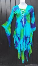 Jordash Blue Green Tie-Dye Medieval Boho Pixie Fairy Witch Pagan Wiccan Dress