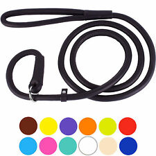 Leather Rolled Dog Leash 4ft or 6ft Slip Lead Small Medium Large Red Black Brown