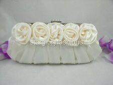 Ivory Cream Satin Roses Pleated Wedding Clutch 13 Colors Lots In Stock