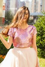 Gold Silver Blush SEQUIN TOP, pink sequin top, Bridesmaids blouse, sequined top