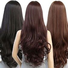 Women Long Curly Wavy Full Wig Heat Resistant Hair Party Cosplay Lolita Brown
