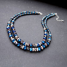 blue glass crystal beads 2 strand Necklace US SELLER FAST SHIP