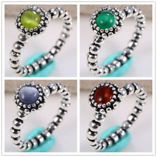925 Silver Month Birthstone Stone Engagement Wedding Stactable Ring Size 6-10