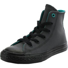 Converse Chuck Taylor All Star Hi Almost Black Leather Youth Trainers Shoes