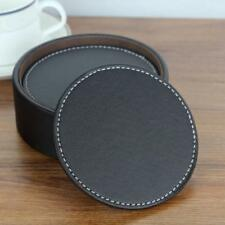 Leather Cup Mat Round Cup Coaster Pad Tea  Cushion Drinks Bowl Holder Place Mat