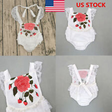 US Kids Baby Girls Lace Floral Romper Jumpsuit Bodysuit Outfit Backless Playsuit