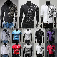 Stylish Men Dragon Tattoo Pullover Tee Shirt Slim Fit Printed Causal Hoodies Top