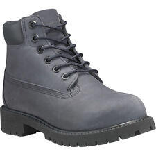 Timberland 6 Inch Premium Waterproof Dark Grey Nubuck Youth Ankle Boots