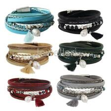 Multilayer Wax Braid Rope Bangle with  Leather Plastic Pearl Crystal Bracelet