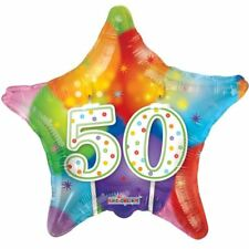 New 50th Balloon Happy Candles Birthday Star MultiColor Decor Balloons 18 Inch