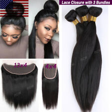 7A REMY Virgin Human Hair Unprocessed Brazilian 3 Bundles with Lace Closure B985