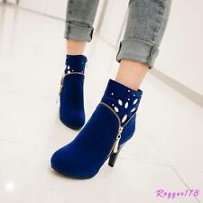 New Women's Rhinestone High Heels Ankle Pumps Faux Suede Shoes Boots