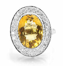 925 Sterling Silver Ring with Oval Cut Natural Yellow Citrine Natural Gemstone