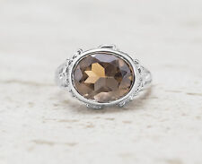925 Sterling Silver Oval Shape Ring with Smoky Topaz Natural Gemstone Handmade