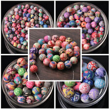 50pcs 6/8/10/12/15mm Mixed Round Flowers Fimo Polymer Clay Loose Craft Beads