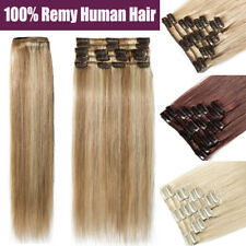Clip in Remy Human Hair Extensions Real THICK Long Hair 8pcs Weft Full Head B792