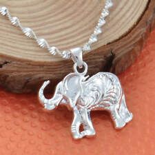 Women 925 Silver Wedding Animal Elephant Necklace Pendant with Chain 24 inches