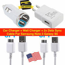 Car Charger + Wall Charger + 2x Data Sync Cable For Samsung Note 3 Galaxy S5.
