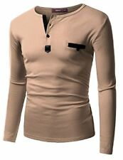Doublju Mens Long Sleeve Leather Point Henley T-shirts - Choose SZ/Color