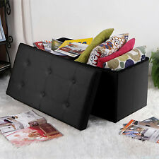 Faux Leather Folding Storage Ottoman Coffee Table Foot Rest Stool Bench Box