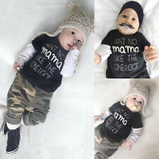 2PCS Newborn Infant Baby Boys T-shirt Tops Camouflage Pants Clothes Outfits Set