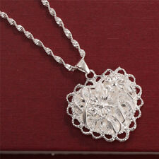 925 Silver Wedding Jewelry Hollow-out Heart Pendant Chain Necklace for Women