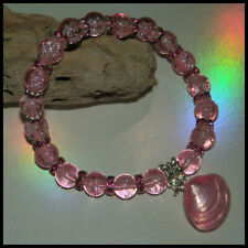 8mm PALE PINK CRACKLE GLASS BEADED PINK STRETCH CHARM BRACELETS MIXED SIZE CHARM