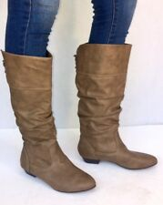 Women's Fashion Low Heel Mid-Calf Knee High Slouch Riding Boots Shoes-Tan Taupe
