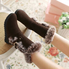 Womens Suede Flat Heels Pull On Mid-calf Winter Warm Snow Casual Boots Shoes