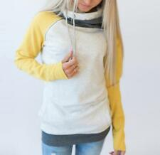 Women's Double Hooded Funnel Neck Color Conjoin Pocket Pullover Sweatshirt Tops