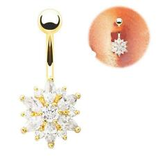 Belly Button Ring Crystal Rhinestone Flower Gem Navel Bar Body Piercing Jewelry