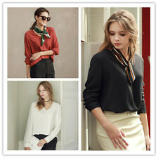 Women's V Neck Long Sleeve Relaxed Fit Elegant OL Style Solid Shirt Top Blouse