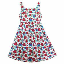 Girls Dress Colorful Flower Print Cotton Summer Party Princess Kids Clothing
