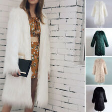 Womens Faux Fur Soft Comfy Warm Hooded Coat Outerwear Overcoat Long Jacket Parka