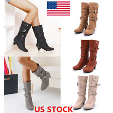 US Women Chunky Low Heel Faux Suede Block Boots Mid-Calf Boots Buckle Warm Shoes