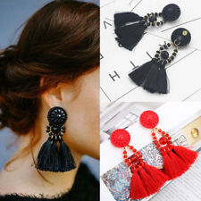 Women Fashion Rhinestone Long Tassel Dangle Earrings Fringe Drop Earrings